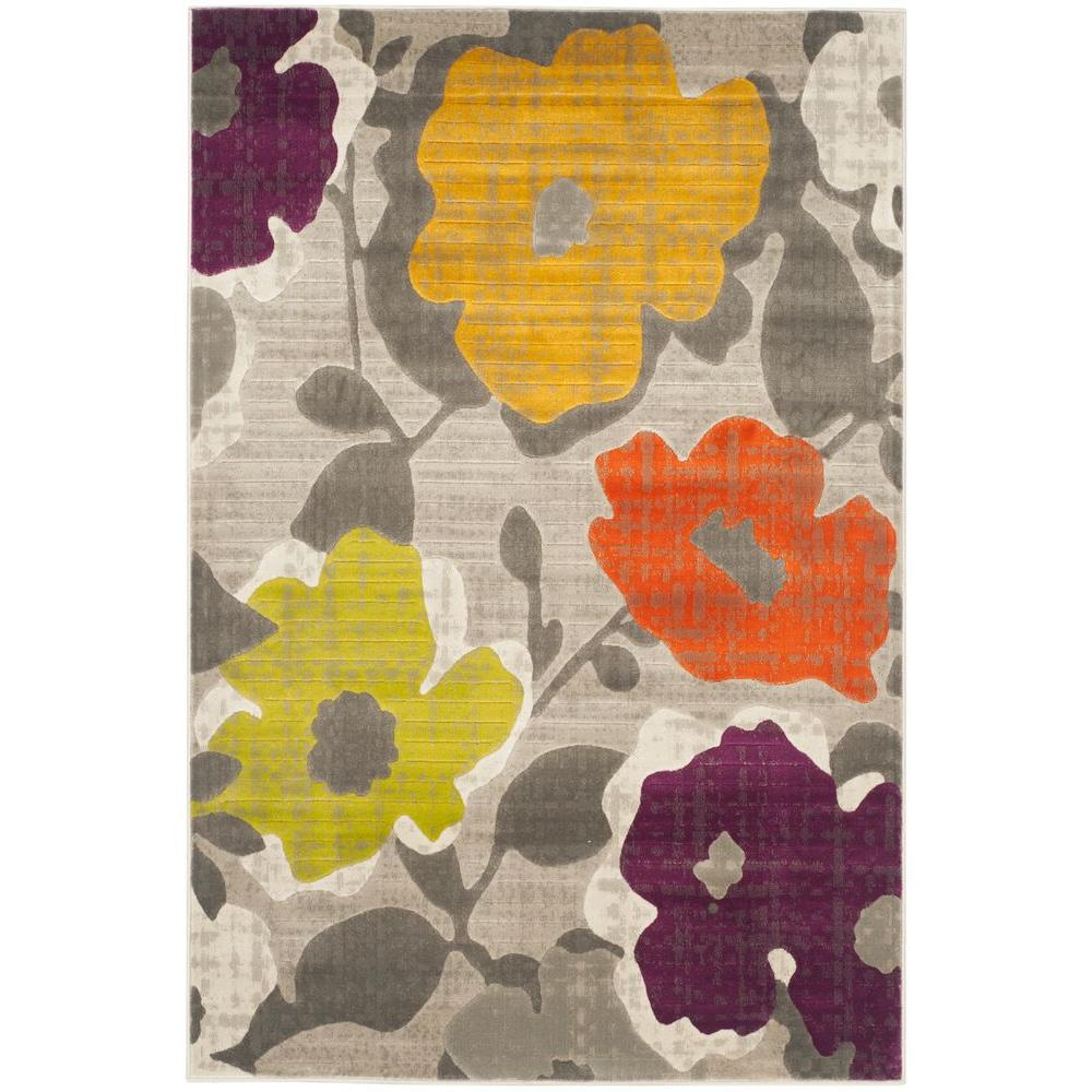 Porcello Grey/Yellow 4 ft. 1 in. x 6 ft. Area Rug