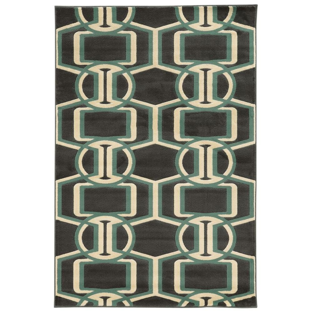 Linon Home Decor Roma Collection Bridle Chocolate And Turquoise 2 Ft X 3 Ft Indoor Area Rug