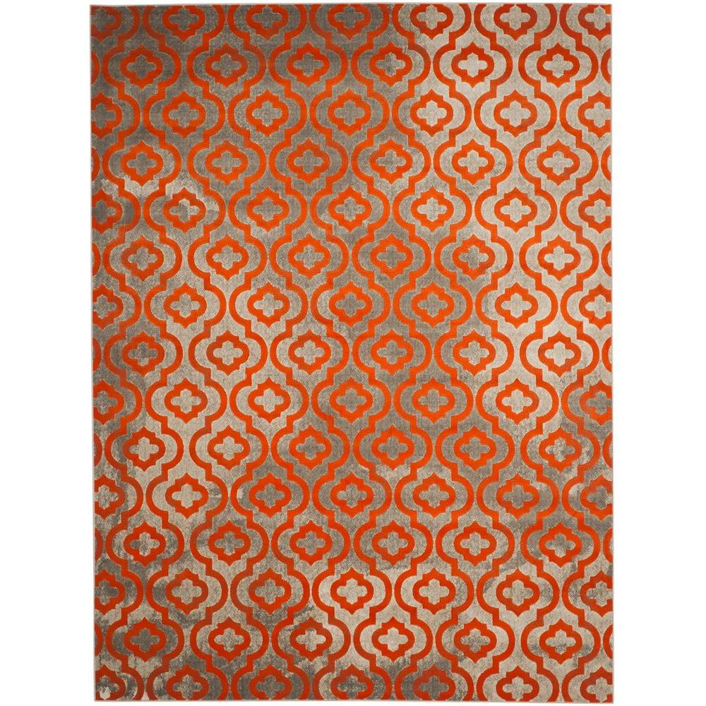 Safavieh Porcello Light Grey Orange 9 Ft X 12 Area Rug