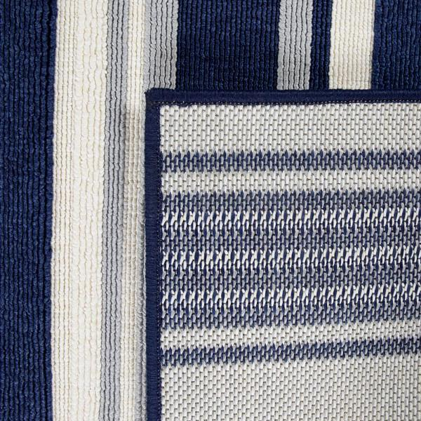 Hampton Bay Stripes Navy White 9 Ft X 12 Ft Indoor Outdoor Area Rug 3004183 The Home Depot