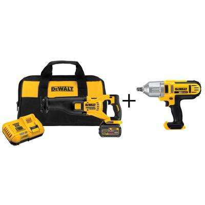 FLEXVOLT 60-Volt MAX Lithium-Ion Cordless Brushless Reciprocating Saw Kit with Bonus 20-V 1/2 in. Drive Impact Wrench
