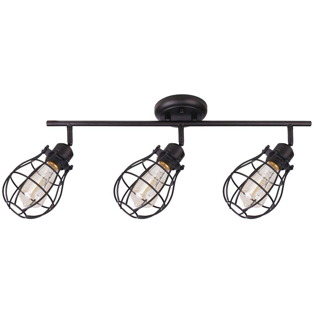 Lancy 3-Lights Matte Black Track Light with Cage Shade