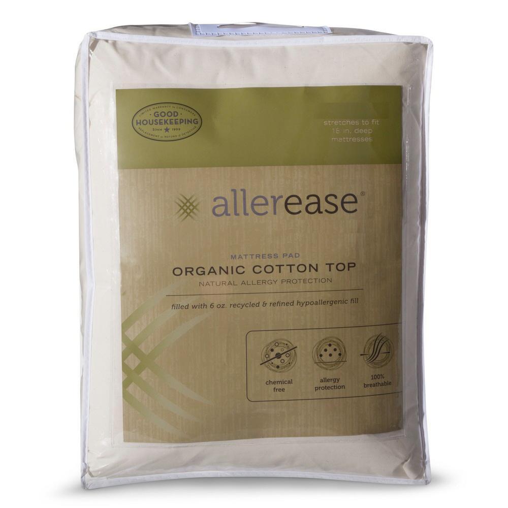 AllerEase Organic Queen Cotton Top Mattress Pad