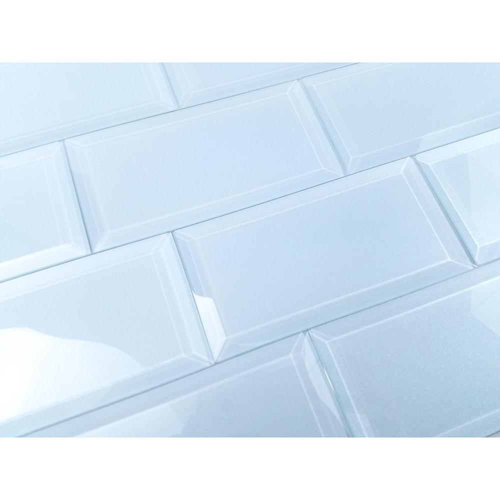 ABOLOS Frosted Elegance Catherine Blue 3 in. x 6 in. Glass Peel and ...