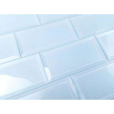 3 in. x 6 in. Frosted Elegance Catherine Blue Glass Peel and Stick Wall Tile Sample