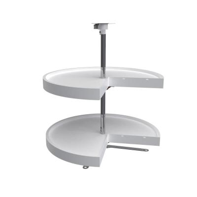 32 in. H x 24 in. W x 24 in. D White Polymer 2-Shelf Pie Cut Lazy Susan Set