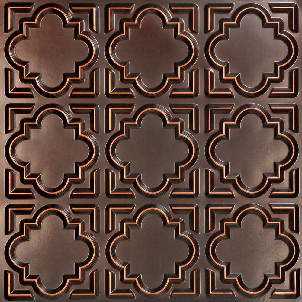 From Plain To Beautiful In Hours Casablanca 2 ft. x 2 ft. PVC Glue-up Ceiling Tile in Antique Copper
