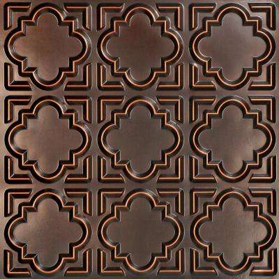 Casablanca 2 ft. x 2 ft. PVC Glue-up Ceiling Tile in Antique Copper