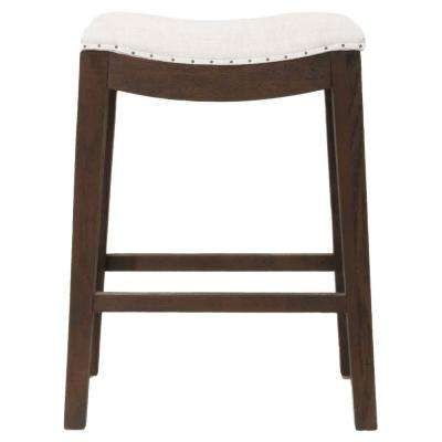 Harper 26 in. Bisque French Linen, Rustic Java Oak Counter Stool