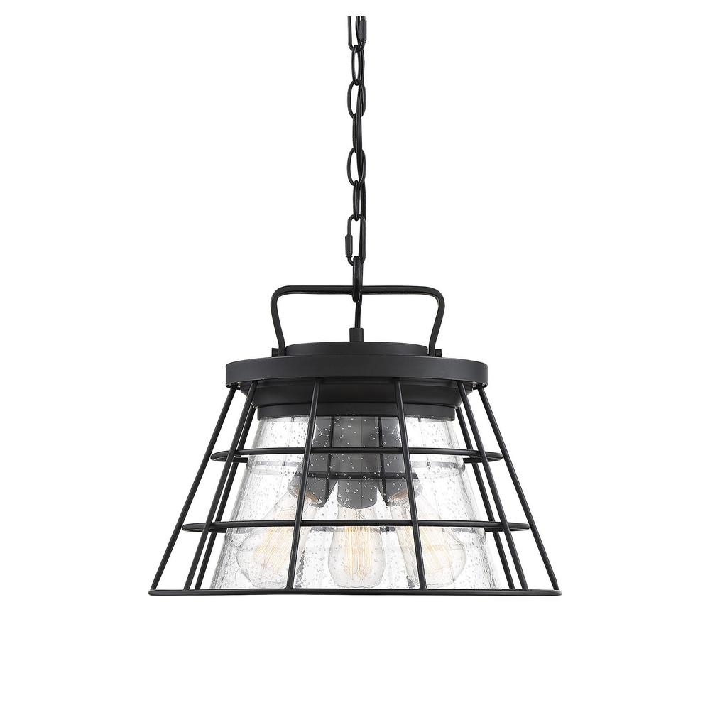 Filament Design 16 in. 3-Light Black Semi-Flush Mount with Clear Seeded Glass