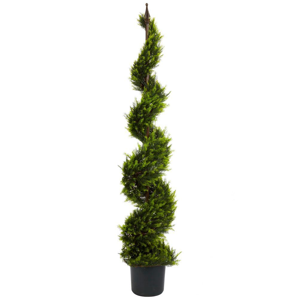 nearly natural 5 ft green cypress spiral tree 5325 the home depot