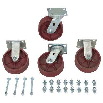 6 in. x 2 in. Ductile Steel Caster Kit - Set of 4 - 8,000 lb. Capacity