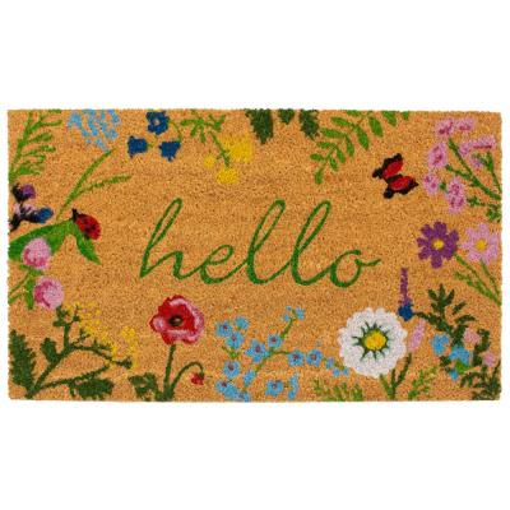 Floral Hello Doormat 17 in. x 29 in.