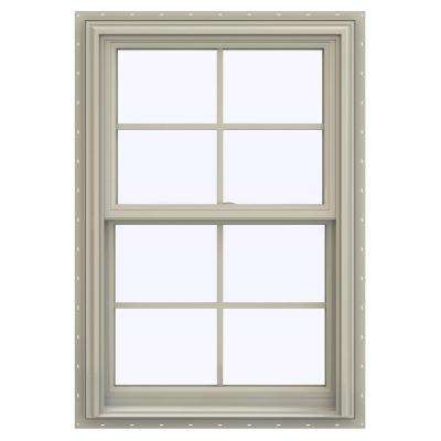 27.5 in. x 47.5 in. V-2500 Series Desert Sand Vinyl Double Hung Window with Colonial Grids/Grilles