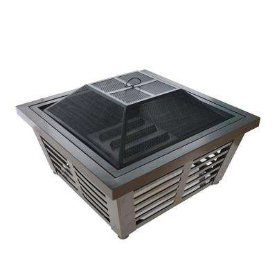 Hudson 34 in. x 23 in. Square Steel Wood Fire Pit in Wenge with Cover