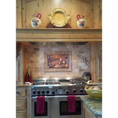 Vineyard View 22 in. W x 15 in. H Stonecast Decorative Tile Backsplash in Copper