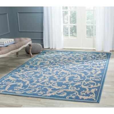 Courtyard Blue/Natural 8 ft. x 8 ft. Indoor/Outdoor Square Area Rug