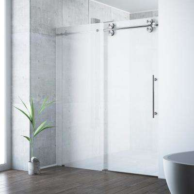 Elan 60 in. x 74 in. Frameless Sliding Shower Door in Stainless Steel with Frosted Glass
