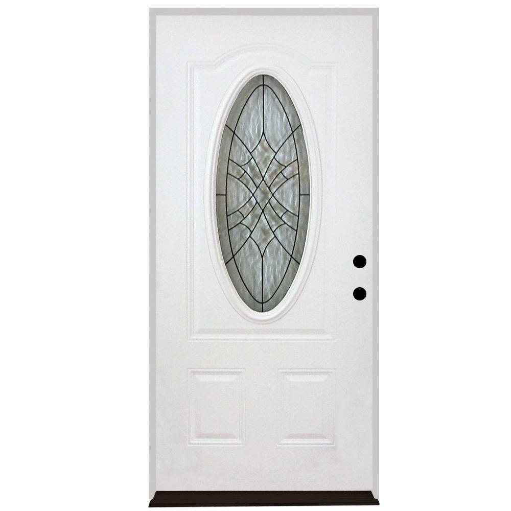 Steves & Sons 32 in. x 80 in. Webville Oval Lite 2-Panel Primed White Steel Prehung Front Door