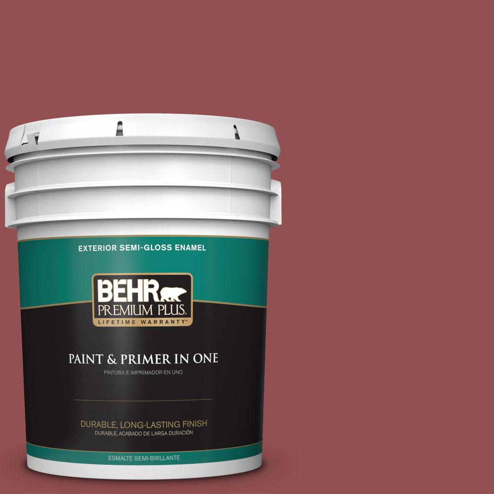 5 gal. #PPU1-08 Pompeian Red Semi-Gloss Enamel Exterior Paint