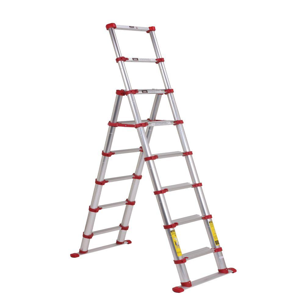 Xtend & Climb 7.5 ft. Telescoping Aluminum Step Ladder with 300 lb. Load Capacity Type 1A Duty Rating