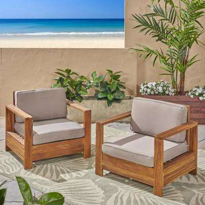 Devon Brushed Brown Patina Wood Outdoor Lounge Chairs with Light Grey Cushions (2-Pack)
