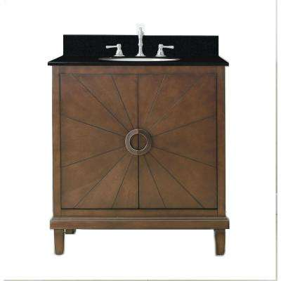 31 in. Vanity in Antique Coffee with Granite Vanity Top in Black White with White Basin