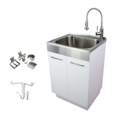 24 in. x 20 in. x 34.6 in. Stainless Steel Laundry/Utility Sink and Wood Cabinet with Faucet in White