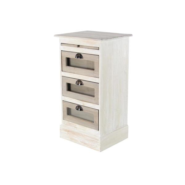 Litton Lane 3-Drawer White Wooden Chest with Glass Panels 37837