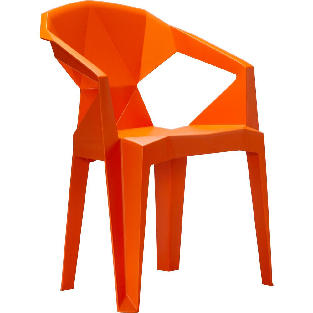 Stacking Plastic Outdoor Dining Chair 2 Chairs Included In Orange