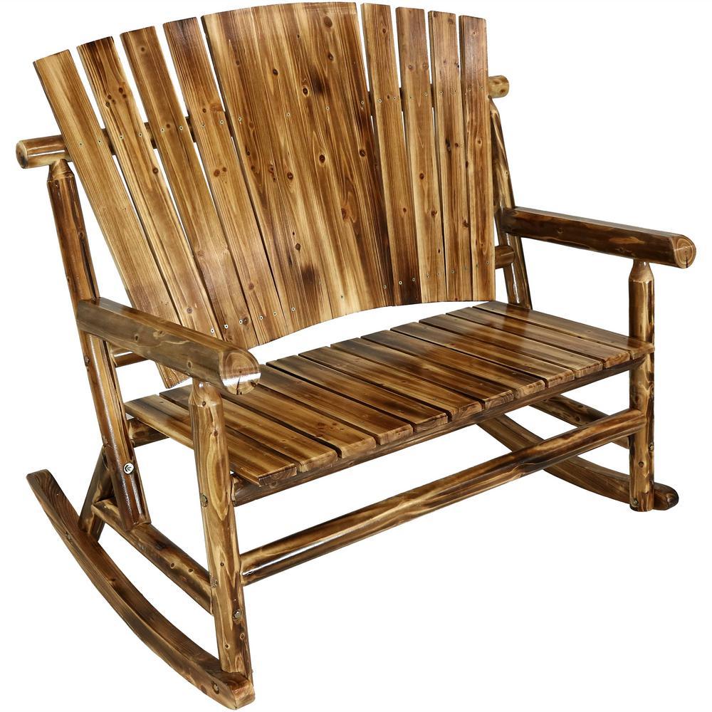 Sunnydaze Decor Rustic Fir Wood Log Cabin Patio Rocking Loveseat With Fan Back Design 2 Person 500 Lbs Capacity