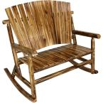Rustic Fir Wood Log Cabin Outdoor Rocking Chair Loveseat with Fan Back Design, 2-Person 500 lbs. Capacity