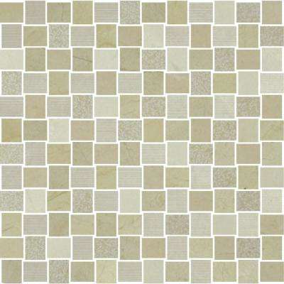 Marble Medley Crema Marfil Basketweave 12 in. x 12 in. x 7.9 mm Mixed Finish Marble Mesh-Mounted Mosaic Tile