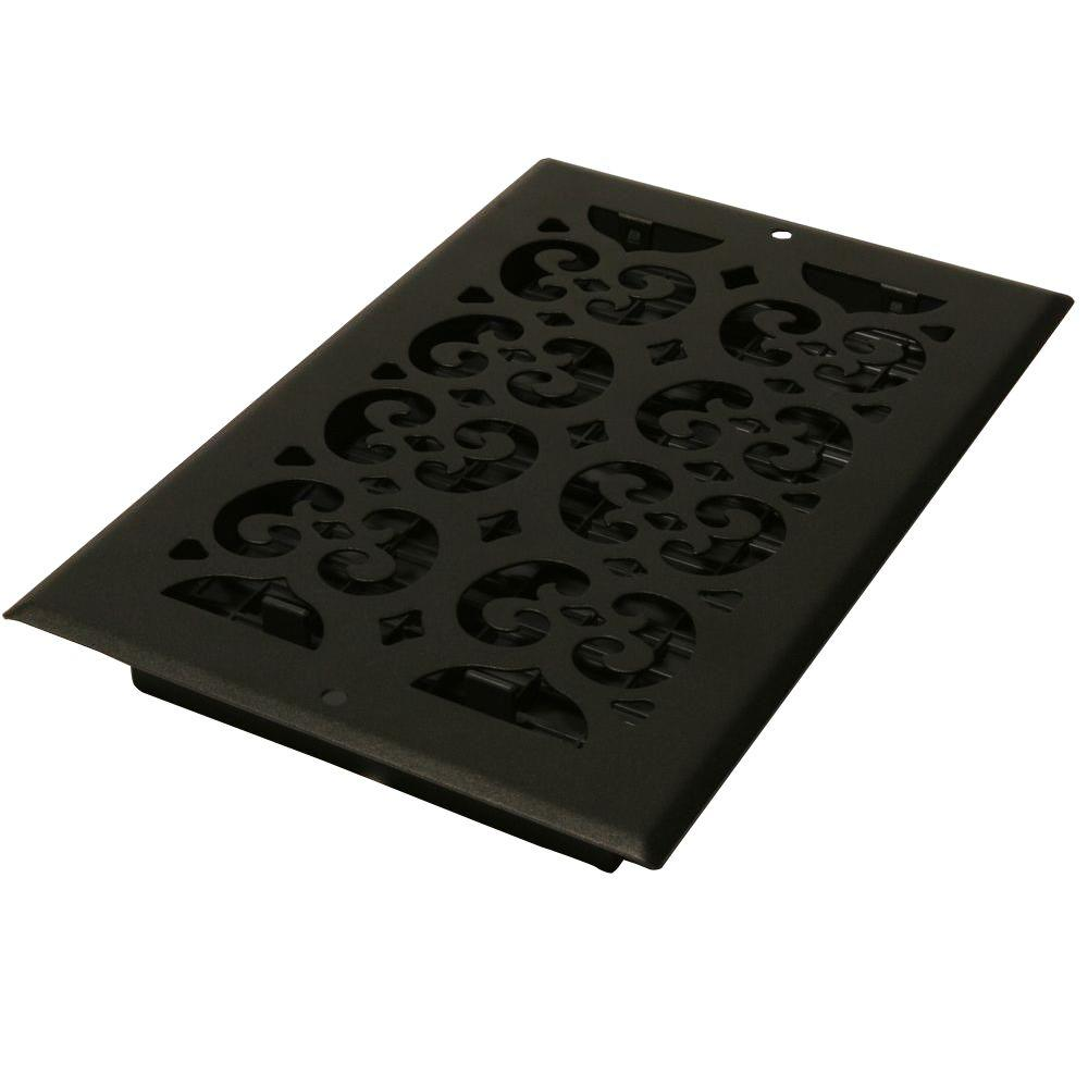 6 in. x 14 in. Cast-Iron Black Steel Scroll Wall and