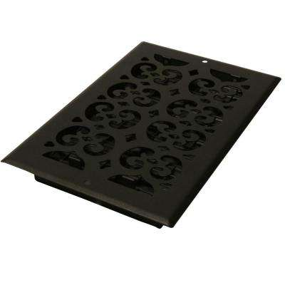 6 in. x 14 in. Cast-Iron Black Steel Scroll Wall and Ceiling Register