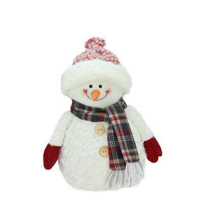 13 in. Smiling Snowman with Knit Hat Christmas Tabletop Decoration