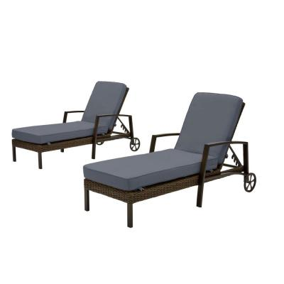 Whitfield Dark Brown Wicker Outdoor Patio Chaise Lounge with CushionGuard Sky Blue Cushions (2-Pack)