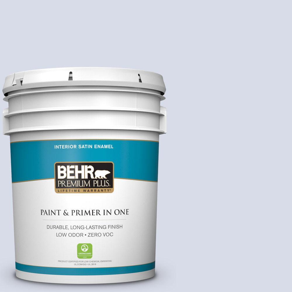 BEHR Premium Plus 5-gal. #630C-2 Sweet Harbor Zero VOC Satin Enamel Interior Paint