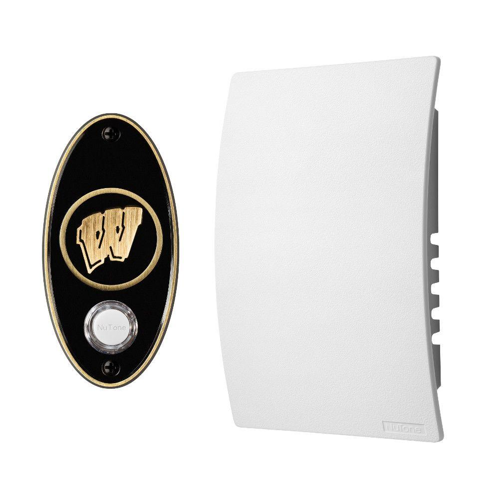 NuTone College Pride University of Wisconsin Wired/Wireless Door Chime Mechanism and Pushbutton Kit - Antique Brass