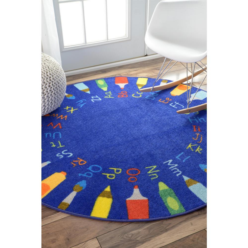 Rainbow Alphabet Blue 8 ft. x 8 ft. Round Rug