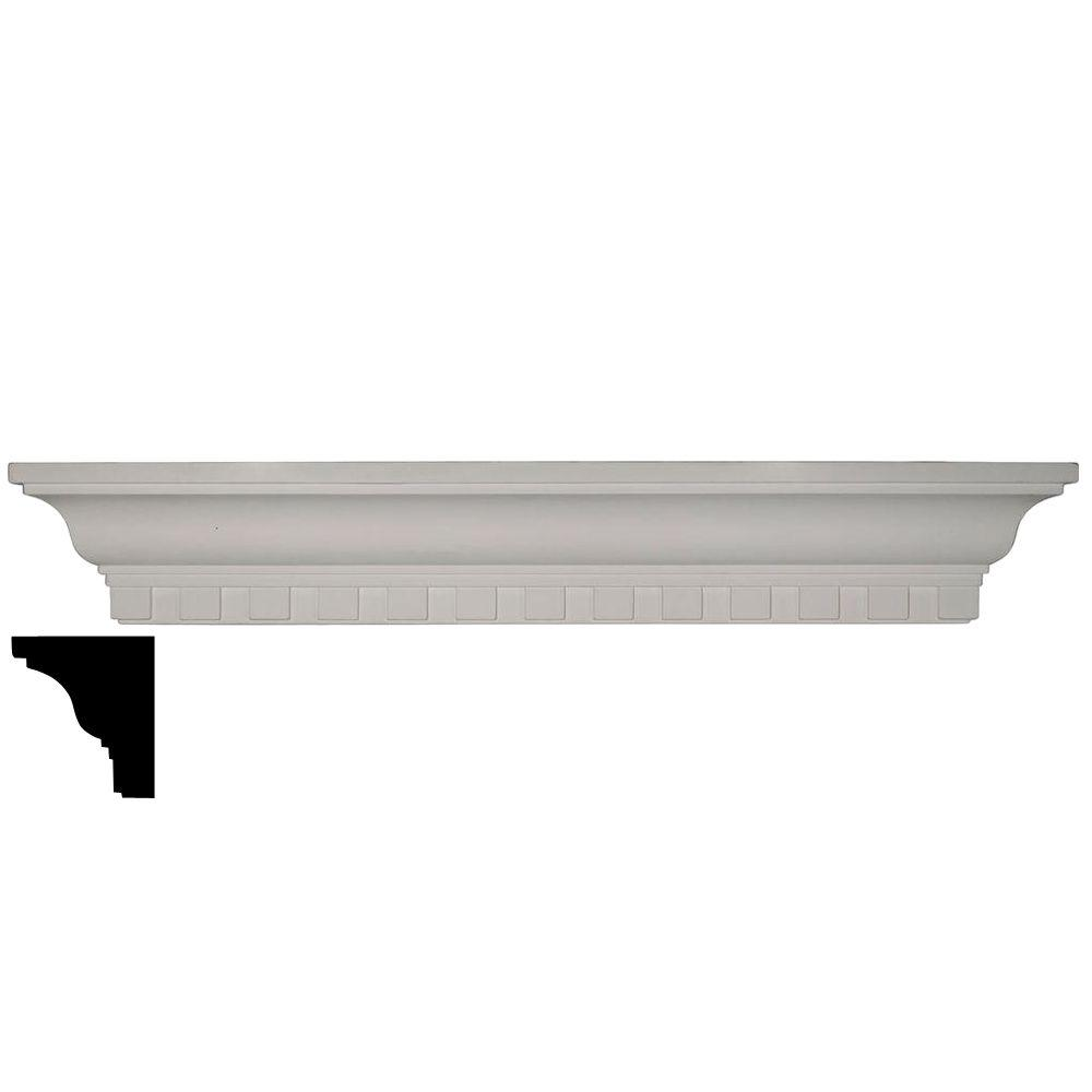 Ekena Millwork 4-1/8 in. x 30 in. x 4-1/2 in. Polyurethane Dentil Shelf