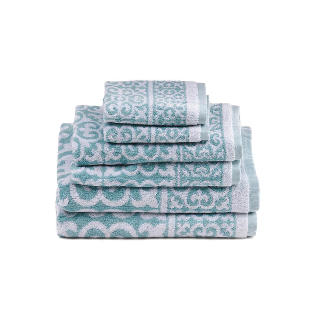 Arabesque 6-Piece Surf Geometric Bath Towel Set