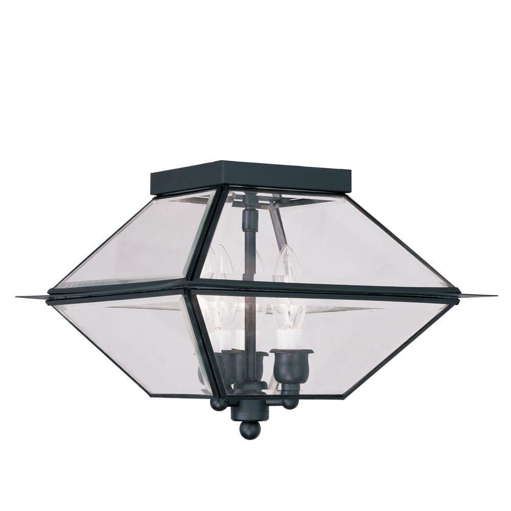 Westover 3-Light Black Outdoor Incandescent Ceiling Lantern