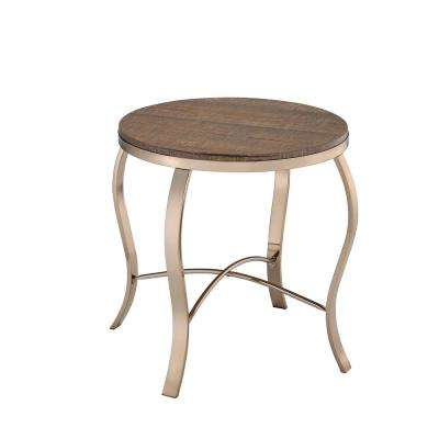 Wicklow Rustic Oak and Champagne Transitional Style Table Set (3-Piece)