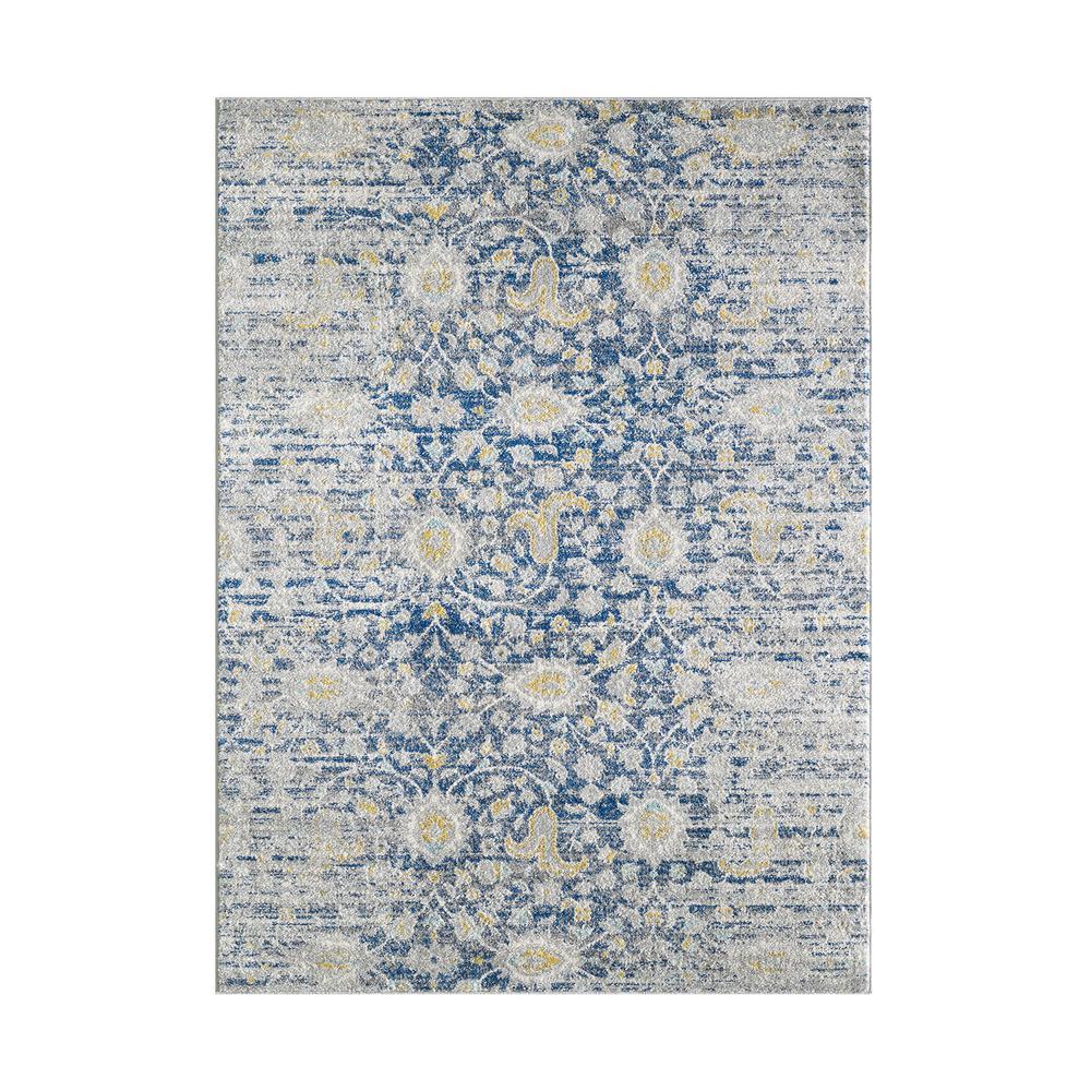 Homeroots Bernadette Blue Gray 7 Ft X 10 Ft Abstract Polypropylene Area Rug 374646 The Home Depot