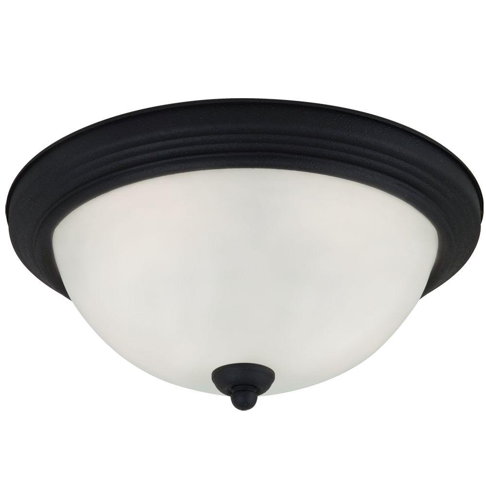 Sea Gull Lighting 1-Light Blacksmith Ceiling Flushmount with Satin Etched Glass