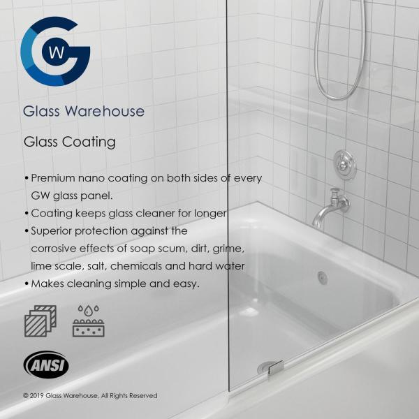 Glass Warehouse 42 25 In X 78 In Frameless Pivot Wall Hinged Shower Door In Brushed Nickel With Handle Gw Wh 42 25 Bn The Home Depot