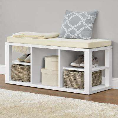 Parsons White Storage Bench