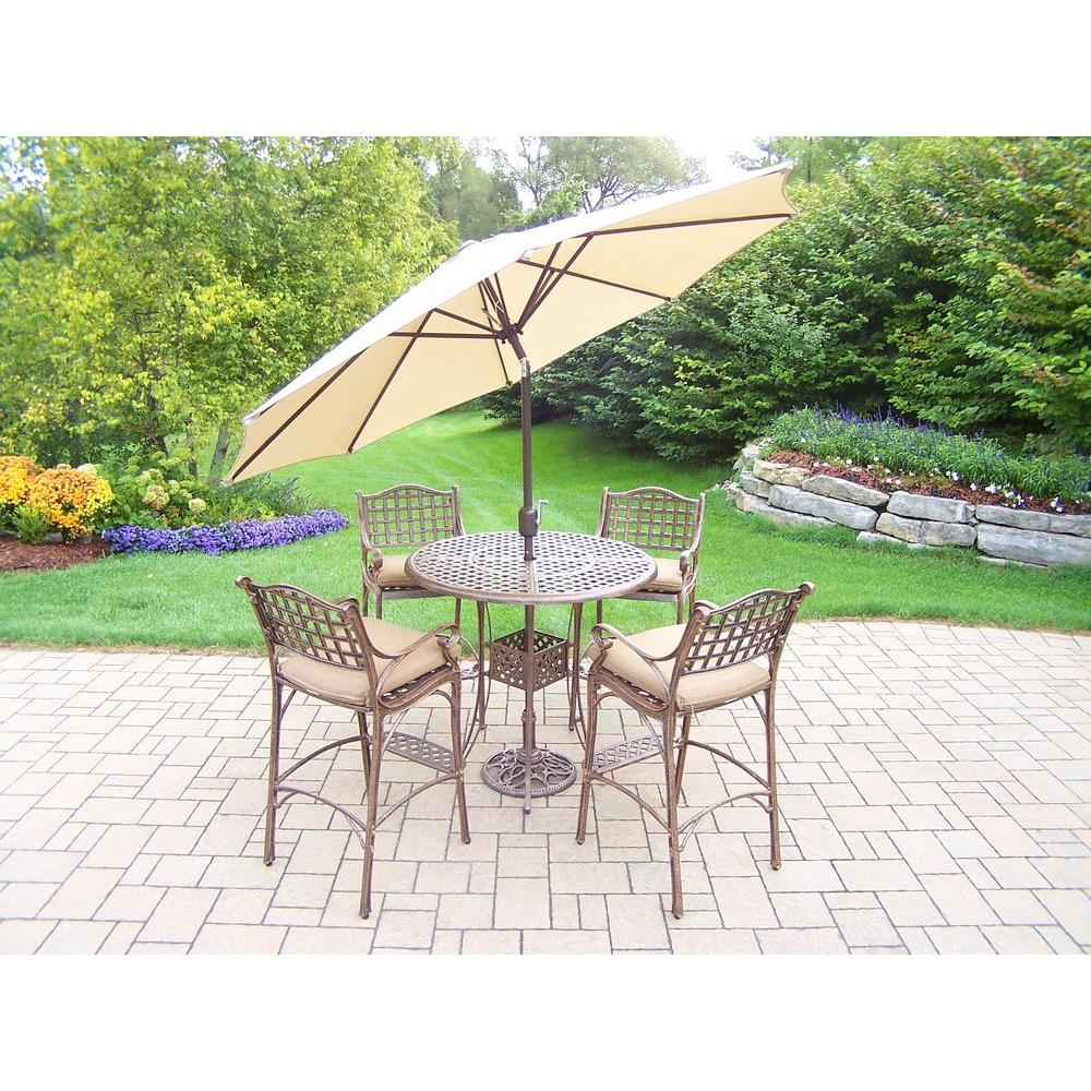 Oakland Living Elite Cast Aluminum 7 Piece Round Patio Bar Height Dining Set With Oatmeal Cushions And Umbrella