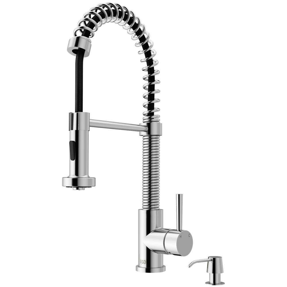 Edison Single-Handle Pull-Down Sprayer Kitchen Faucet with Soap Dispenser in